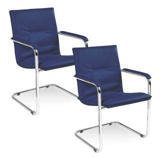 2 NOWY STYL Rumba Besucherstühle blau Leder
