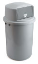 Abfallbehällter aus Kunststoff mit Klappdeckel, Grau