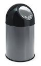Abfallbehälter mit Druckdeckel 30 Liter, Metallic,...