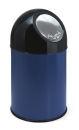 Abfallbehälter mit Druckdeckel 30 Liter, Blau, Schwarz