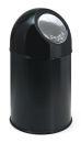 Abfallbehälter mit Druckdeckel 30 Liter, Schwarz