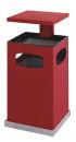 Ascher-Papierkorb mit abnehmbarem Dach 80 Liter, Rot