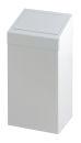 Abfallbehälter aus Metall mit Pushklappe, Weiß