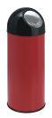 Abfallbehälter mit Druckdeckel 55 Liter, Rot, Schwarz
