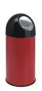 Abfallbehälter mit Druckdeckel 40 Liter, Rot, Schwarz