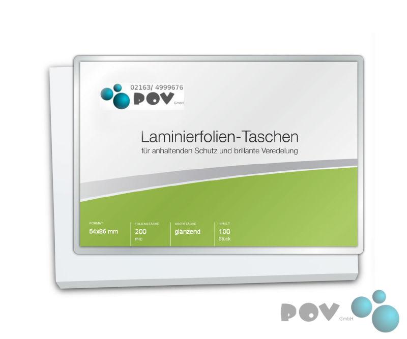 54 x 86 mm 2 x 100 mic Laminierfolien Credit Card glänzend