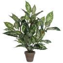 Dieffenbachia in grauem Übertopf. Kunstpflanze