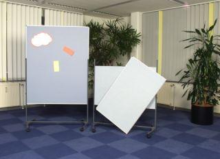 Moderationswand, stationär, geteilt, Whiteboard, 120 x 150 cm