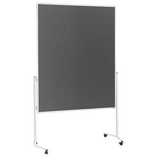 Magnetoplan Moderationstafel, Aluminiumrahmen weiß, Filzoberflächen grau, ungeteilt, mobil