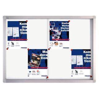 Franken Schaukasten PRO, Aluminium, Schiebetür, 95 x 68 x 4,6 cm, weiß, magnethaftend, 8 x DIN A4