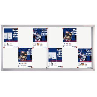 Franken Schaukasten PRO, Aluminium, Schiebetür, 139 x 68 x 4,6 cm, weiße Rückwand, magnethaftend, für 12 x DIN A4