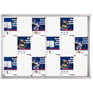 Franken Schaukasten ECO, Aluminium, Schiebetür,  139 x 99 x 4.6 cm, weiß, magnethaftend, für 18 x DIN A4