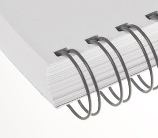 RENZ Draht-Bindeelemente, 2:1 Teilung, Ø 6,9 mm, 23 Schlaufen (=DIN A4), grau, 100 Stück