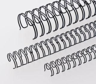 RENZ Draht-Bindeelemente, 2:1 Teilung, Ø 22,0 mm, 23 Schlaufen (=DIN A4), schwarz, 50 Stück