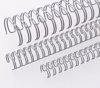 RENZ Draht-Bindeelemente, 2:1 Teilung, Ø 22,0 mm, 23 Schlaufen (=DIN A4), grau, 50 Stück