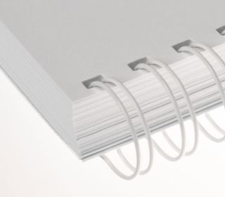 RENZ Draht-Bindeelemente, 2:1 Teilung, Ø 25,4 mm, 23 Schlaufen (=DIN A4), weiß, 50 Stück