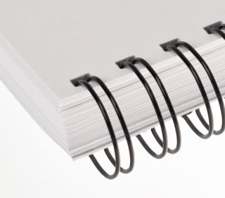 RENZ Draht-Bindeelemente, 3:1 Teilung, Ø 5,5 mm, 34 Schlaufen (=DIN A4), schwarz, 100 Stück