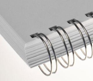 RENZ Draht-Bindeelemente, 3:1 Teilung, Ø 5,5 mm, 34 Schlaufen (=DIN A4), nn-silber (glänzend-silber), 100 Stück