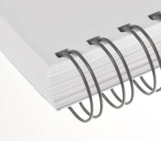 RENZ Draht-Bindeelemente, 3:1 Teilung, Ø 5,5 mm, 34 Schlaufen (=DIN A4), grau, 100 Stück