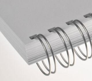 RENZ Draht-Bindeelemente, 3:1 Teilung, Ø 6,9 mm, 34 Schlaufen (=DIN A4), nc-silber (matt-silber), 100 Stück