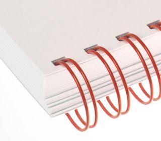 RENZ Draht-Bindeelemente, 3:1 Teilung, Ø 6,9 mm, 34 Schlaufen (=DIN A4), rot, 100 Stück