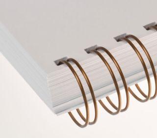 RENZ Draht-Bindeelemente, 3:1 Teilung, Ø 6,9 mm, 34 Schlaufen (=DIN A4), bronze, 100 Stück