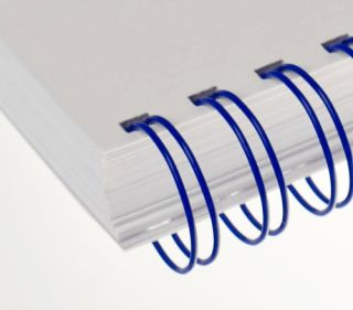 RENZ Draht-Bindeelemente, 3:1 Teilung, Ø 14,3 mm, 34 Schlaufen (=DIN A4), blau, 50 Stück