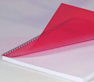 Deckblätter, DIN A4, transparent rot, 0,20 mm, VE mit 100 Stück