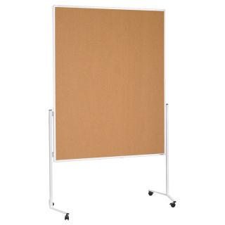 Magnetoplan Moderationstafel, Aluminiumrahmen weiß, Naturkorkoberflächen, ungeteilt, mobil