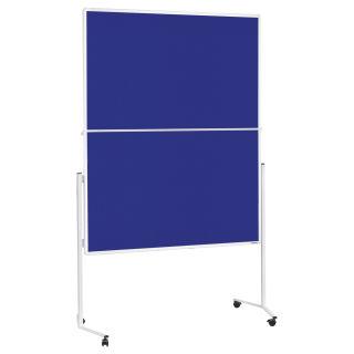 Magnetoplan Moderationstafel, Aluminiumrahmen weiß, Filzoberflächen blau, klappbar, mobil