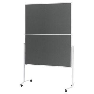 Magnetoplan Moderationstafel, Aluminiumrahmen weiß, Filzoberflächen grau, klappbar, mobil