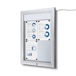 T Schaukasten mit LED-Beleuchtung, für 4 Aushänge im DIN A4 Format, für den Außenbereich