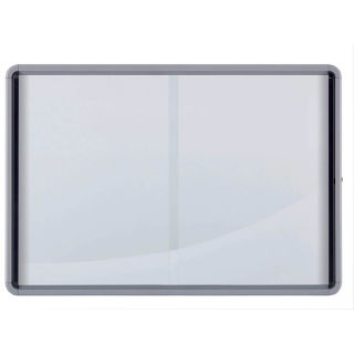 Nobo Schaukasten, für 12 x DIN A4, mit weißer Metallrückwand, mit Schiebetüren