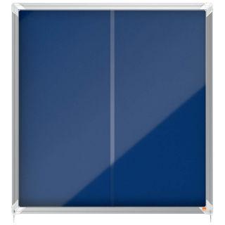 Nobo Schaukasten, für 12 x DIN A4, mit blauer Filzrückwand, mit Schiebetüren