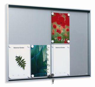 Schiebetür-Schaukasten FA 1, extra flach, für 8 x DIN A4, für den Innenbereich, mit abgeschrägten Eckverbindungen