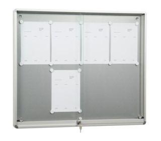 Schiebetür-Schaukasten SR 7, Baustoffklasse B1, 6 x DIN A4, für den Innenbereich,