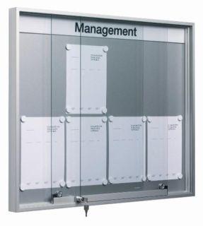 Schiebetür-Schaukasten SN 7, Baustoffklasse B1, 6 x DIN A4, für den Innenbereich