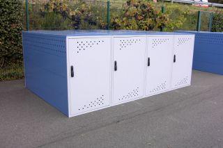 Modell Bikebox One als Reihenanlage mit drei Anbausätzen mit Seitenwand