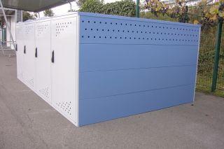 Modell Bikebox One als Reihenanlage mit zwei Anbausätzen ohne Seitenwand