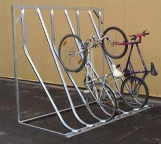 Fahrrad-Kufenparker Modell: P 52-M 6 mit 6 Einstellplätze mit Rückwandstütze