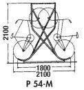 Fahrrad-Kufenparker Modell: P 54-M14 mit 14 Einstellplätze doppelseitig, freistehend, ohne Dach