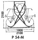 Fahrrad-Kufenparker Modell: P 54-M16 mit 16 Einstellplätze doppelseitig, freistehend, ohne Dach