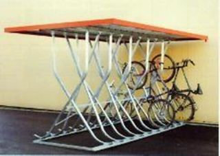 Kufenparker, doppelseitig, freistehend, mit Flachdach, Blende verzinkt, 18 Einstellplätze