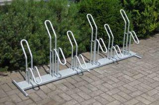 Fahrrad-Rohrparker als  Reihenparker 6 Radeinstellplätze einseitig