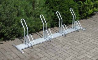 Fahrrad-Rohrparker als Reihenparker 4 Radeinstellplätze einseitig verzinkt