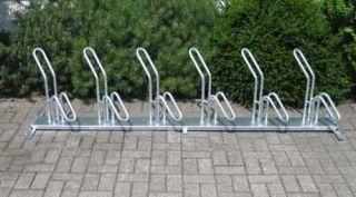 Fahrrad-Rohrparker als Reihenparker 6 Radeinstellplätze einseitig verzinkt, schräg rechts Verpackungseinheit 3 Stück