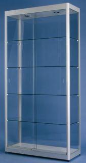 POV® Standvitrine FACTORY 200, mit Beleuchtung, eloxiert alu-silberfarbig
