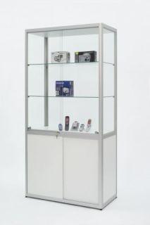 POV® Standvitrine FACTORY 500, mit Beleuchtung, eloxiert alu-silberfarbig