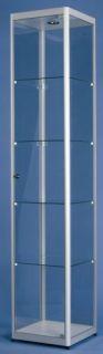 POV® Standvitrine FACTORY 100, mit Beleuchtung, eloxiert alu-silberfarbig