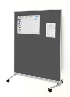 Mobile-Funktionswand, Textil dunkelgrau, 1200 x 1625 x 670 mm (B x H x T)